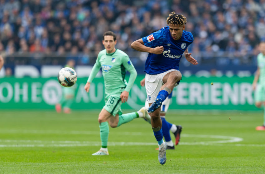 GELSENKIRCHEN, GERMANY - MARCH 07: (BILD ZEITUNG OUT) Jean-Claire Todibo of FC Schalke 04 controls the ball during the Bundesliga match between FC Schalke 04 and TSG 1899 Hoffenheim at Veltins-Arena on March 7, 2020 in Gelsenkirchen, Germany. (Photo by Max Maiwald/DeFodi Images via Getty Images)