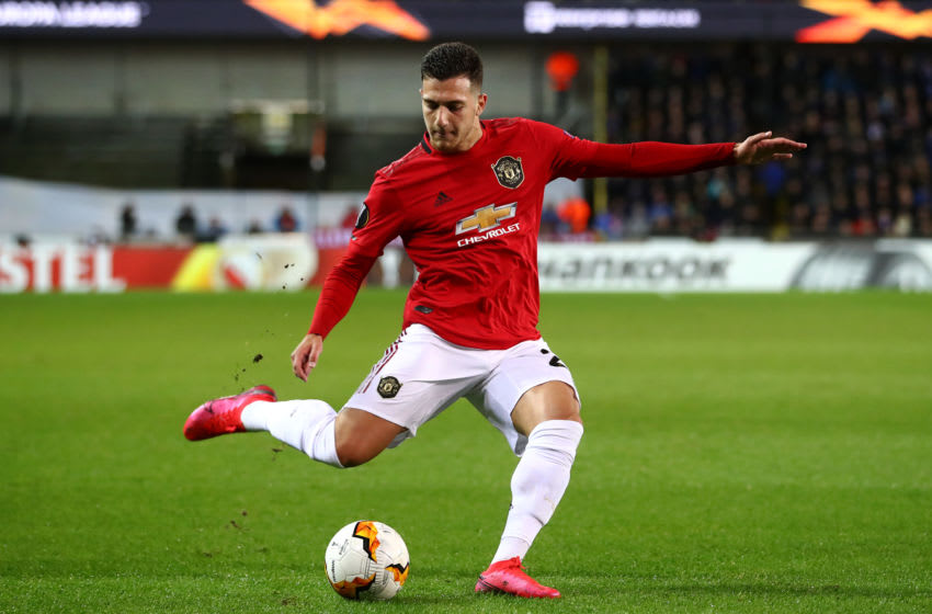BRUGGE, BELGIUM - FEBRUARY 20: Diogo Dalot of Manchester United in action during the UEFA Europa League round of 16 first leg match between Club Brugge and Manchester United at Jan Breydel Stadium on February 20, 2020 in Brugge, Belgium. (Photo by Dean Mouhtaropoulos/Getty Images)