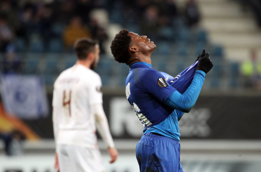 GENT, BELGIUM - FEBRUARY 27: Jonathan David of Kaa Gent looks dejected during the UEFA Europa League round of 32 second leg match between KAA Gent and AS Roma at Ghelamco Arena on February 27, 2020 in Gent, Belgium. (Photo by Vincent Van Doornick/Isosport/MB Media/Getty Images)