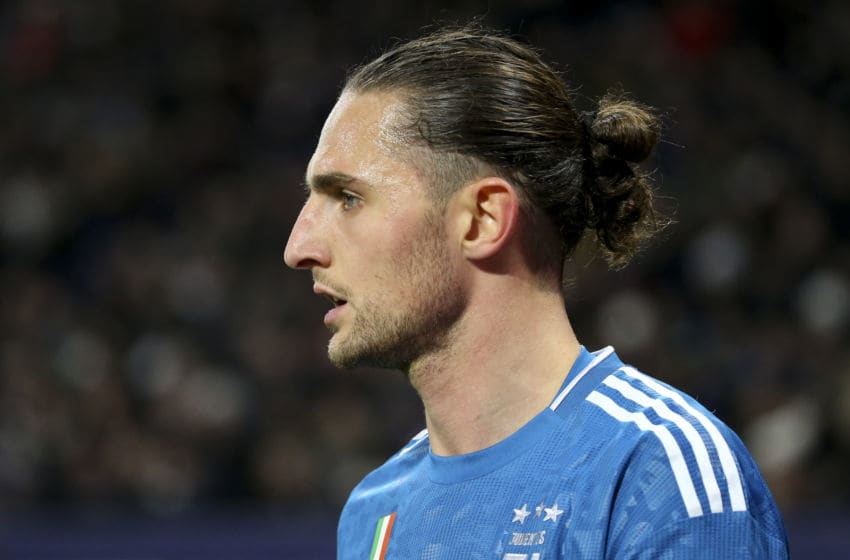 LYON, FRANCE - FEBRUARY 26: Adrien Rabiot of Juventus during the UEFA Champions League round of 16 first leg match between Olympique Lyonnais (OL) and Juventus at Groupama Stadium on February 26, 2020 in Decines near Lyon, France. (Photo by Jean Catuffe/Getty Images)