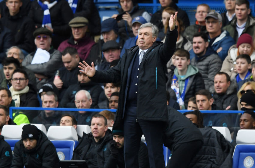 LONDON, ENGLAND - MARCH 08: Carlo Ancelotti, Manager of Everton reacts during the Premier League match between Chelsea FC and Everton FC at Stamford Bridge on March 08, 2020 in London, United Kingdom. (Photo by Shaun Botterill/Getty Images)