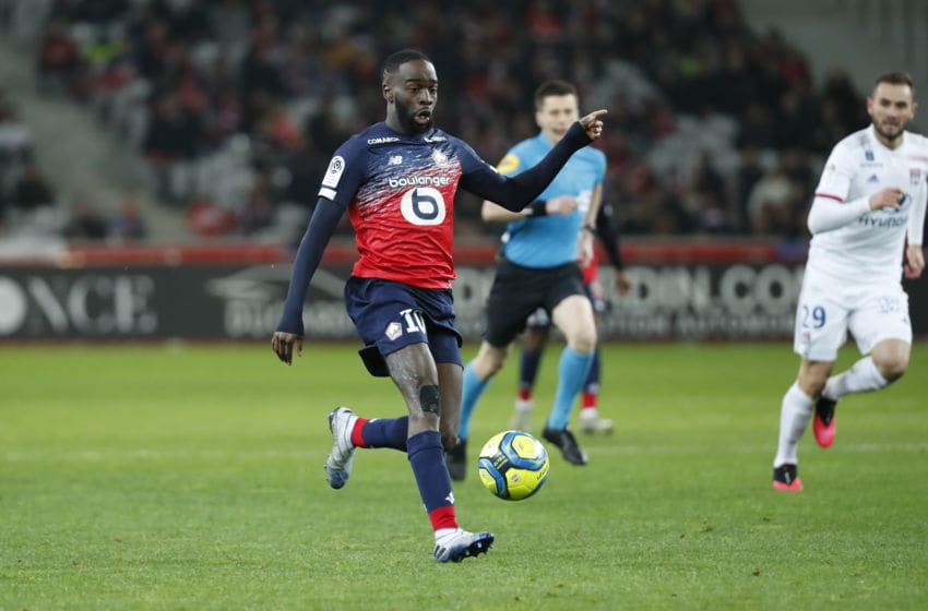 LILLE, FRANCE - MARCH 08: Jonathan Ikone #10 of Lille OSC controls the ball during the Ligue 1 match between Lille OSC and Olympique Lyonnais at Stade Pierre-Mauroy on March 8, 2020 in Lille, France. (Photo by Catherine Steenkeste/Getty Images)