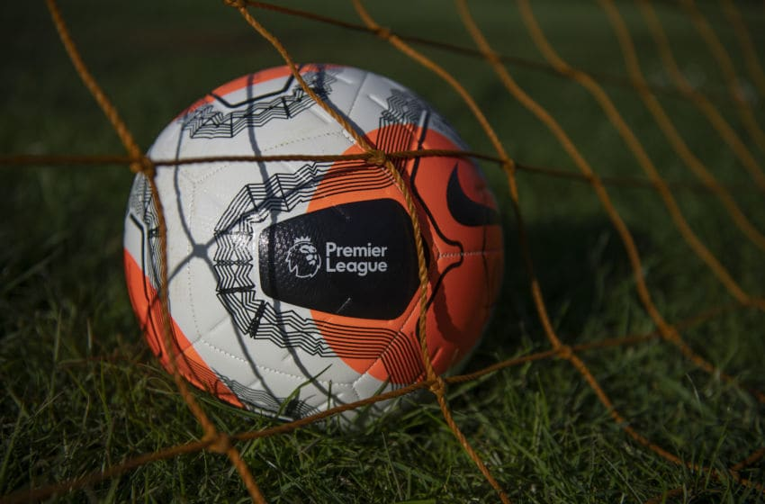 WROXTON, ENGLAND - MAY 01: Nike Premier League Strike Football photographed on May 01, 2020 in Wroxton, Oxfordshire, United Kingdom. No Premier League matches have been played since March 9th due to the Coronavirus Covid-19 pandemic. (Photo by VISIONHAUS)