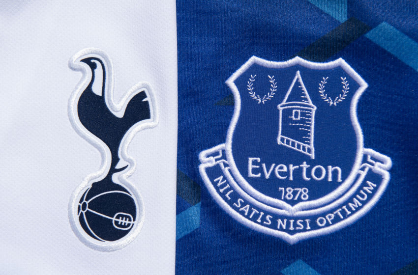 MANCHESTER, ENGLAND - MAY 14: The Tottenham Hotspur and Everton club crests on their first team home shirts on May 14, 2020 in Manchester, England. (Photo by Visionhaus)