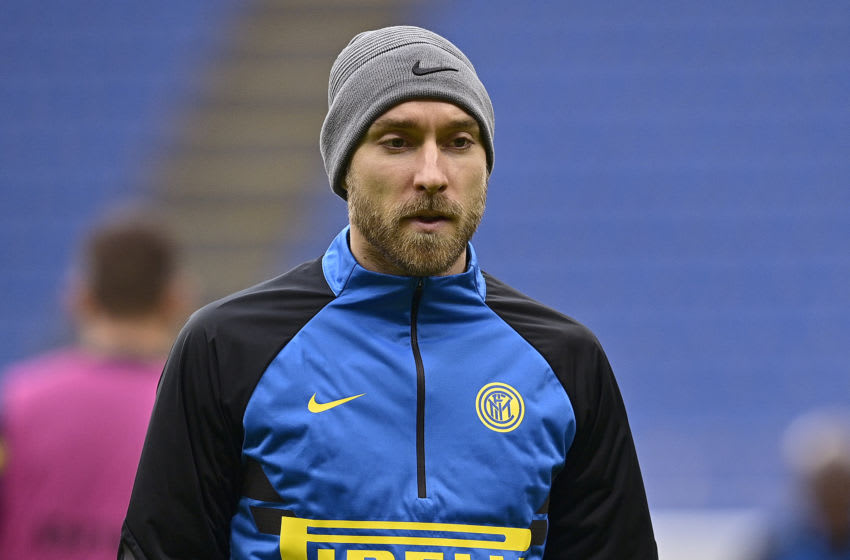 MILAN, ITALY - JANUARY 3: Christian Eriksen of FC Internazionale during the Italian Serie A match between Internazionale v Crotone at the San Siro on January 3, 2021 in Milan Italy (Photo by Mattia Ozbot/Soccrates/Getty Images)