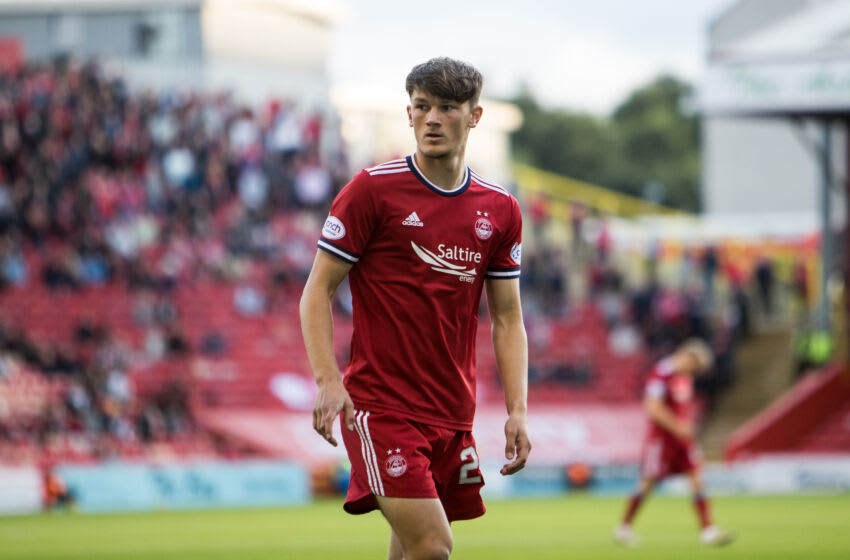 ABERDEEN, SCOTLAND - AUGUST 12: Calvin Ramsay of Aberdeen during the UEFA Conference League Third Qualifying Round Leg Two match between Aberdeen FC and Breidablik at Pittodrie Stadium on August 12, 2021 in Aberdeen, United Kingdom. (Photo by Scott Baxter/Getty Images)