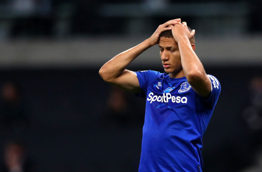 LONDON, ENGLAND - JULY 06: Richarlison of Everton reacts during the Premier League match between Tottenham Hotspur and Everton FC at Tottenham Hotspur Stadium on July 06, 2020 in London, England. Football Stadiums around Europe remain empty due to the Coronavirus Pandemic as Government social distancing laws prohibit fans inside venues resulting in all fixtures being played behind closed doors. (Photo by Chloe Knott - Danehouse/Getty Images)