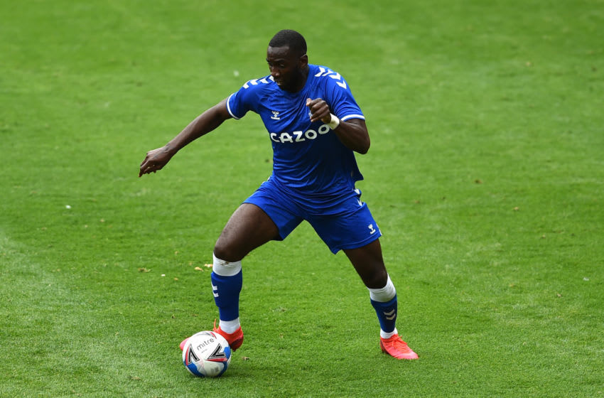 BLACKPOOL, ENGLAND - AUGUST 22: Yannick Bolasie of Everton in action during the pre-season friendly match between Blackpool and Everton at Bloomfield Road on August 22, 2020 in Blackpool, England. (Photo by Nathan Stirk/Getty Images)