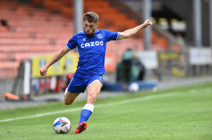 BLACKPOOL, ENGLAND - AUGUST 22: Jonjoe Kenny of Everton in action during the pre-season friendly match between Blackpool and Everton at Bloomfield Road on August 22, 2020 in Blackpool, England. (Photo by Nathan Stirk/Getty Images)