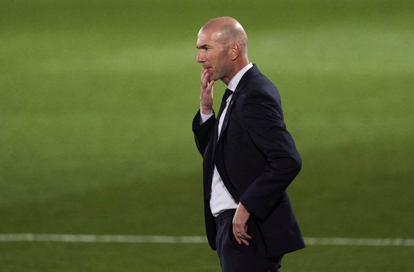 MADRID, SPAIN - OCTOBER 17: Zinedine Zidane head Coach of Real Madrid reacts during the La Liga Santader match between Real Madrid and Cadiz CF at Estadio Alfredo Di Stefano on October 17, 2020 in Madrid, Spain. (Photo by Diego Souto/Quality Sport Images/Getty Images)