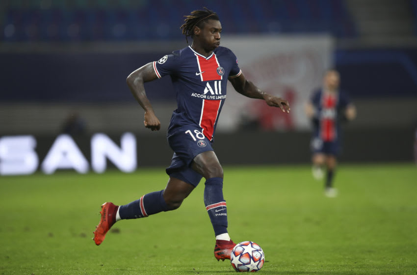 LEIPZIG, GERMANY - NOVEMBER 04: Moise Kean of Paris Saint-Germain controls the ball during the UEFA Champions League Group H stage match between RB Leipzig and Paris Saint-Germain at Red Bull Arena on November 04, 2020 in Leipzig, Germany. (Photo by Maja Hitij/Getty Images)