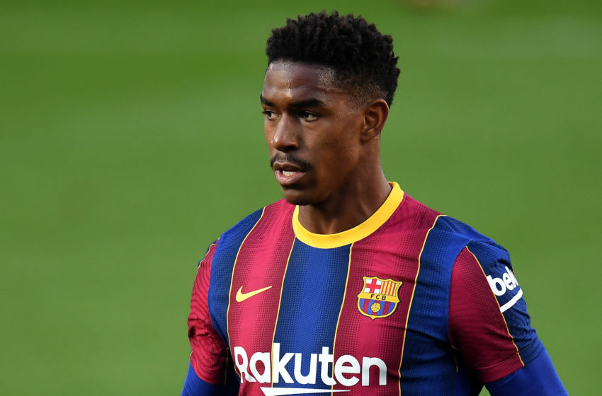 BARCELONA, SPAIN - NOVEMBER 29: Junior Firpo of FC Barcelona looks on during the La Liga Santader match between FC Barcelona and C.A. Osasuna at Camp Nou on November 29, 2020 in Barcelona, Spain. (Photo by David Ramos/Getty Images)
