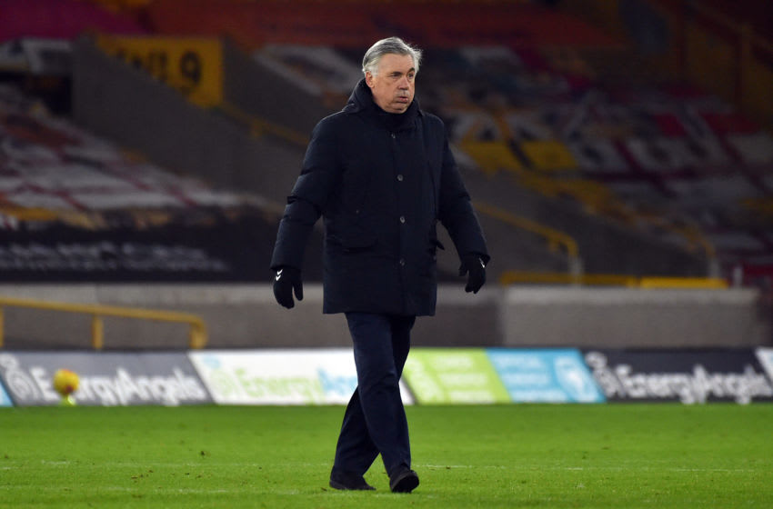 WOLVERHAMPTON, ENGLAND - JANUARY 12: Carlo Ancelotti, manager of Everton looks on after the Premier League match between Wolverhampton Wanderers and Everton at Molineux on January 12, 2021 in Wolverhampton, England. Sporting stadiums around England remain under strict restrictions due to the Coronavirus Pandemic as Government social distancing laws prohibit fans inside venues resulting in games being played behind closed doors. (Photo by Rui Vieira - Pool/Getty Images)