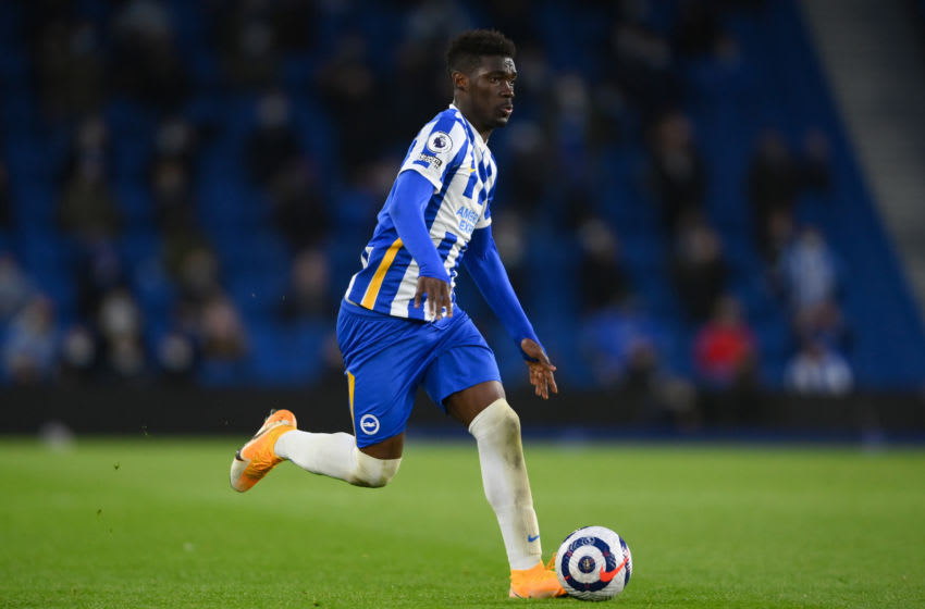BRIGHTON, ENGLAND - MAY 18: Yves Bissouma of Brighton & Hove Albion in action during the Premier League match between Brighton & Hove Albion and Manchester City at American Express Community Stadium on May 18, 2021 in Brighton, England. (Photo by Mike Hewitt/Getty Images)