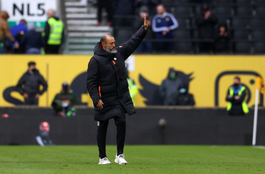 WOLVERHAMPTON, ENGLAND - MAY 23: Nuno Espirito Santo Manager of Wolverhampton Wanderers acknowledges with the fans after his last Premier League match between Wolverhampton Wanderers and Manchester United at Molineux on May 23, 2021 in Wolverhampton, England. A limited number of fans will be allowed into Premier League stadiums as Coronavirus restrictions begin to ease in the UK following the COVID-19 pandemic. (Photo by Catherine Ivill/Getty Images)