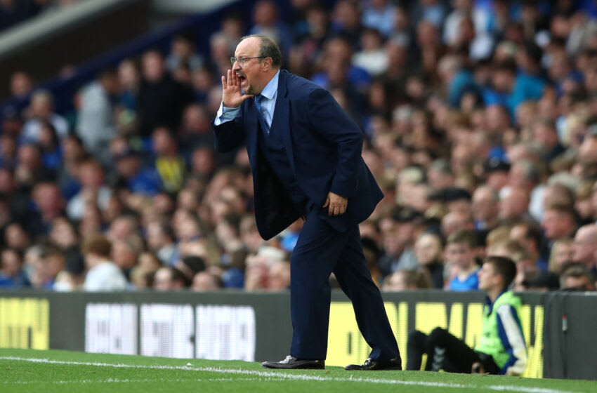 LIVERPOOL, ENGLAND - SEPTEMBER 25: Rafael Benitez, Manager of Everton gives their team instructions during the Premier League match between Everton and Norwich City at Goodison Park on September 25, 2021 in Liverpool, England. (Photo by Jan Kruger/Getty Images)