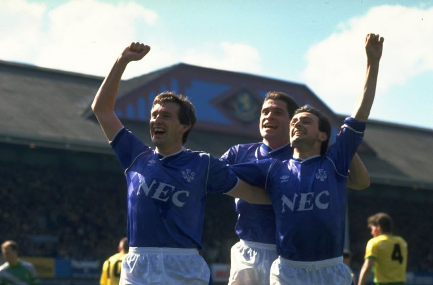 1989: (left to right) Kevin Sheedy, Tony Cottee and Pat Nevin all of Everton celebrate a goal during the FA Cup Semi-Final against Norwich City at Villa Park in Birmingham, England. Everton won the match 1-0. Mandatory Credit: Simon Bruty/Allsport