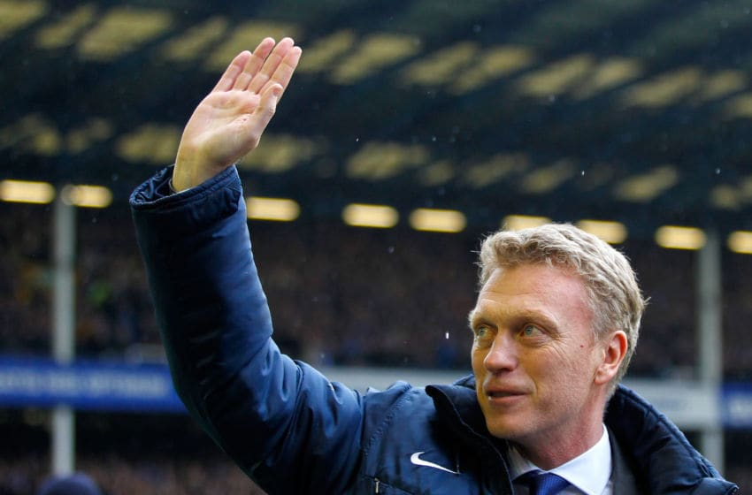 LIVERPOOL, ENGLAND - MAY 12: Manager David Moyes of Everton waves to the home fans before the Barclays Premier League match between Everton and West Ham United at Goodison Park on May 12, 2013 in Liverpool, England. (Photo by Paul Thomas/Getty Images)