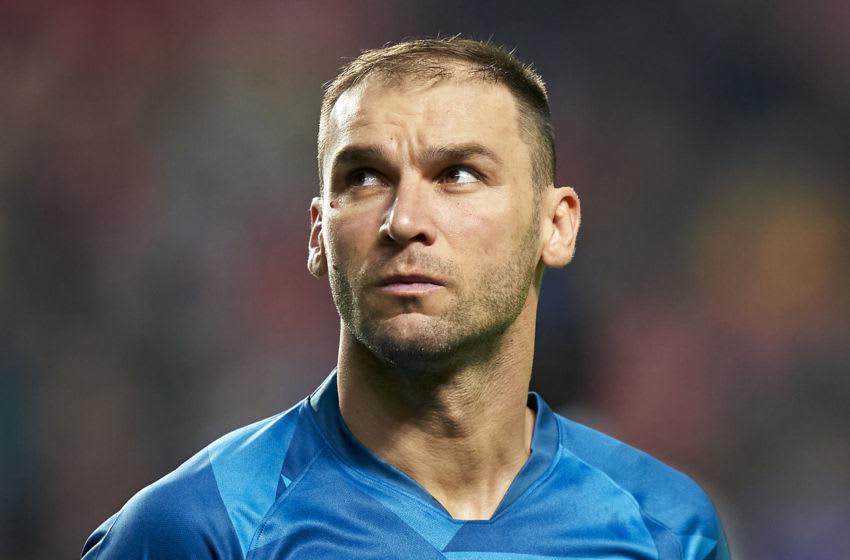 LISBON, PORTUGAL - DECEMBER 10: Branislav Ivanovic of FC Zenit Saint Petersburg looks on prior to the UEFA Champions League group G match between SL Benfica and Zenit St. Petersburg at Estadio da Luz on December 10, 2019 in Lisbon, Portugal. (Photo by Quality Sport Images/Getty Images)