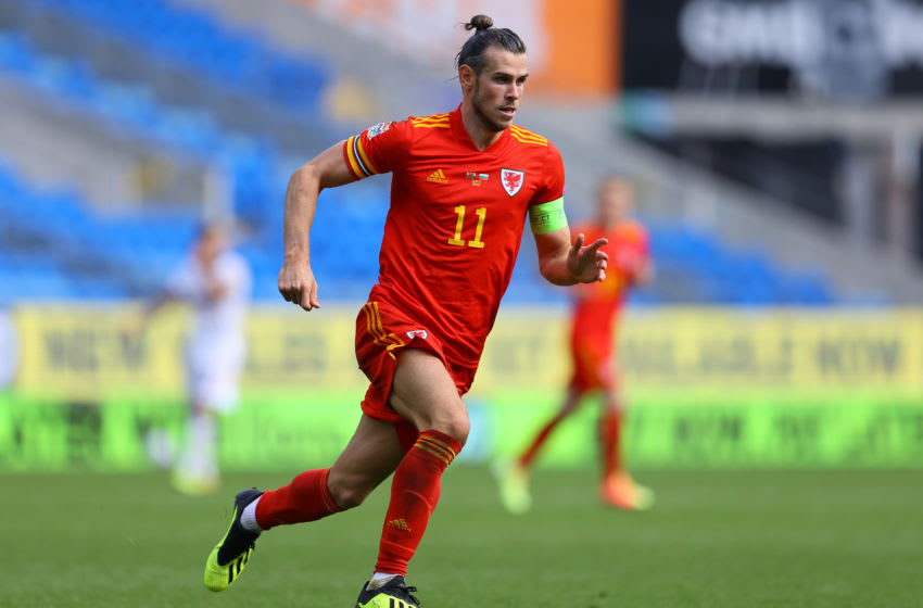 CARDIFF, WALES - SEPTEMBER 06: Gareth Bale of Wales in action during the UEFA Nations League group stage match between Wales and Bulgaria at Cardiff City Stadium on September 06, 2020 in Cardiff, Wales. (Photo by Richard Heathcote/Getty Images)
