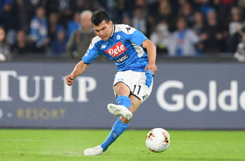 NAPLES, ITALY - OCTOBER 30: Hirving Lozano of SSC Napoli during the Serie A match between SSC Napoli and Atalanta BC at Stadio San Paolo on October 30, 2019 in Naples, Italy. (Photo by Francesco Pecoraro/Getty Images)