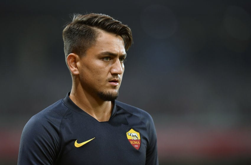 LILLE, FRANCE - AUGUST 03: Cengiz Under of AS Roma looks on during warmup before the Friendly match between Lille and AS Roma at Stade Pierre Mauroy on August 03, 2019 in Lille, France. (Photo by Aurelien Meunier/Getty Images)