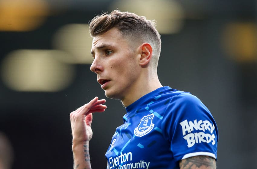 LIVERPOOL, ENGLAND - FEBRUARY 08: Lucas Digne of Everton during the Premier League match between Everton FC and Crystal Palace at Goodison Park on February 8, 2020 in Liverpool, United Kingdom. (Photo by Robbie Jay Barratt - AMA/Getty Images)