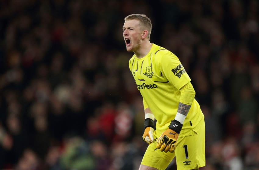 LONDON, ENGLAND - FEBRUARY 23: Jordan Pickford of Everton during the Premier League match between Arsenal FC and Everton FC at Emirates Stadium on February 23, 2020 in London, United Kingdom. (Photo by James Williamson - AMA/Getty Images)