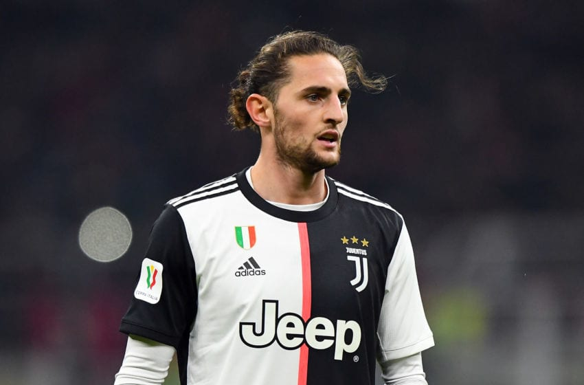 MILAN, ITALY - FEBRUARY 13: Adrien Rabiot of Juventus looks on during the Coppa Italia Semi Final match between AC Milan and Juventus at Stadio Giuseppe Meazza on February 13, 2020 in Milan, Italy. (Photo by Alessandro Sabattini/Getty Images)