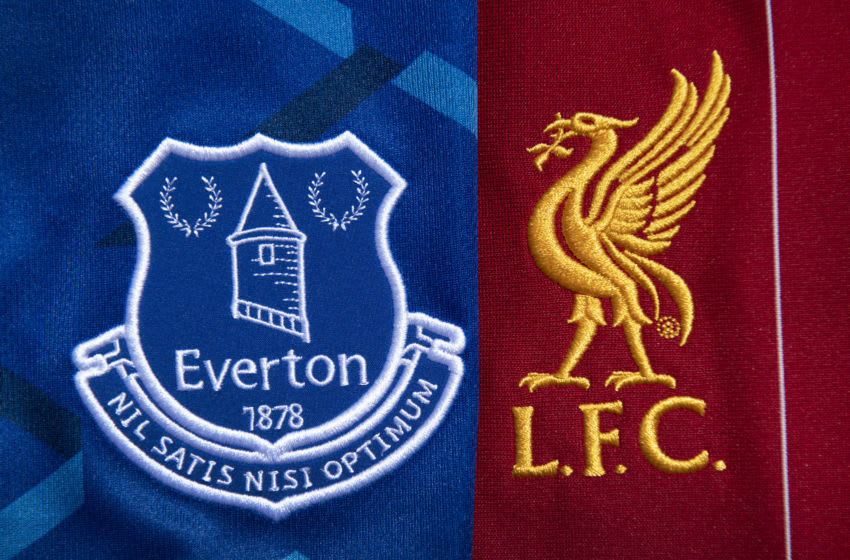 MANCHESTER, ENGLAND - MAY 14: The Everton and Liverpool club crests on their first team home shirt son May 14, 2020 in Manchester, England. (Photo by Visionhaus)