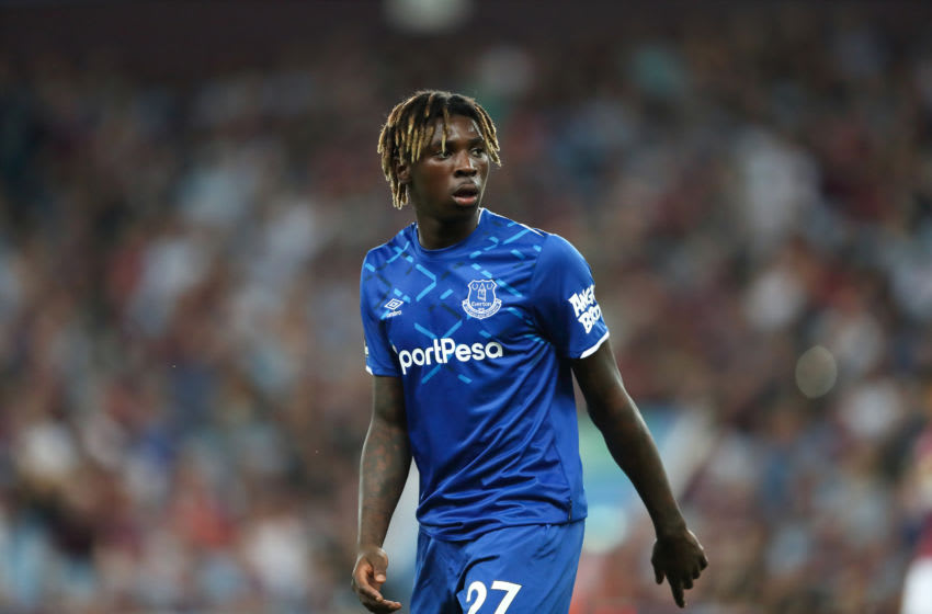 BIRMINGHAM, ENGLAND - AUGUST 23: Moise Kean of Everton during the Premier League match between Aston Villa and Everton FC at Villa Park on August 23, 2019 in Birmingham, United Kingdom. (Photo by James Williamson - AMA/Getty Images)