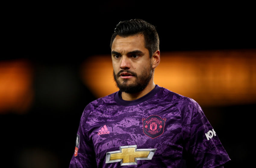 WOLVERHAMPTON, ENGLAND - JANUARY 04: Sergio Romero of Manchester United during the FA Cup Third Round match between Wolverhampton Wanderers and Manchester United at Molineux on January 4, 2020 in Wolverhampton, England. (Photo by Robbie Jay Barratt - AMA/Getty Images)