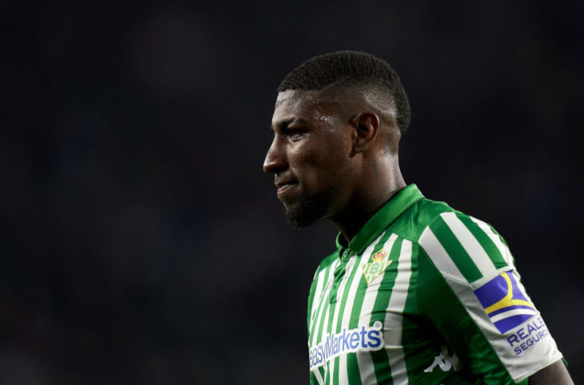 SEVILLE, SPAIN - MARCH 08: Emerson of Real Betis Balompie looks on during the Liga match between Real Betis Balompie and Real Madrid CF at Estadio Benito Villamarin on March 08, 2020 in Seville, Spain. (Photo by Mateo Villalba/Quality Sport Images/Getty Images)
