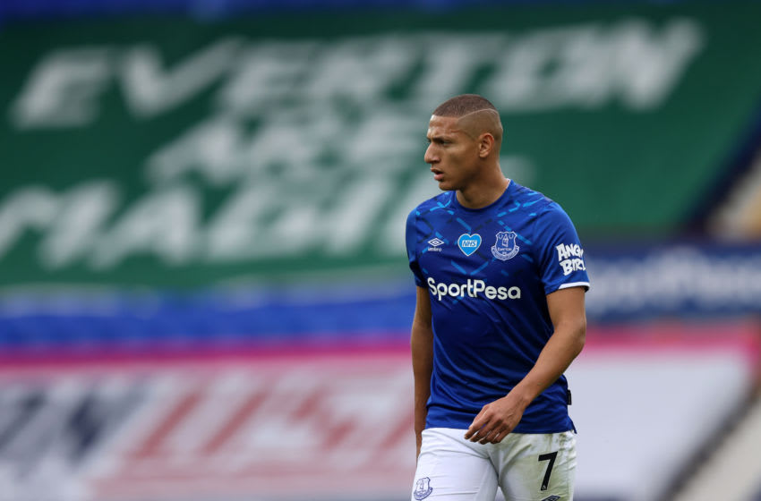 LIVERPOOL, ENGLAND - JULY 16: Richarlison of Everton during the Premier League match between Everton FC and Aston Villa at Goodison Park on July 16, 2020 in Liverpool, United Kingdom. Football Stadiums around Europe remain empty due to the Coronavirus Pandemic as Government social distancing laws prohibit fans inside venues resulting in all fixtures being played behind closed doors. (Photo by Matthew Ashton - AMA/Getty Images,)
