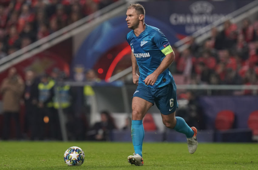 LISBON, PORTUGAL - DECEMBER 10: Branislav Ivanovic of Zenit St Petersburg in action during the UEFA Champions League Group G match between SL Benfica and Zenit St. Petersburg at Estadio da Luz on December 10, 2019 in Lisbon, Portugal. (Photo by Gualter Fatia/Getty Images)