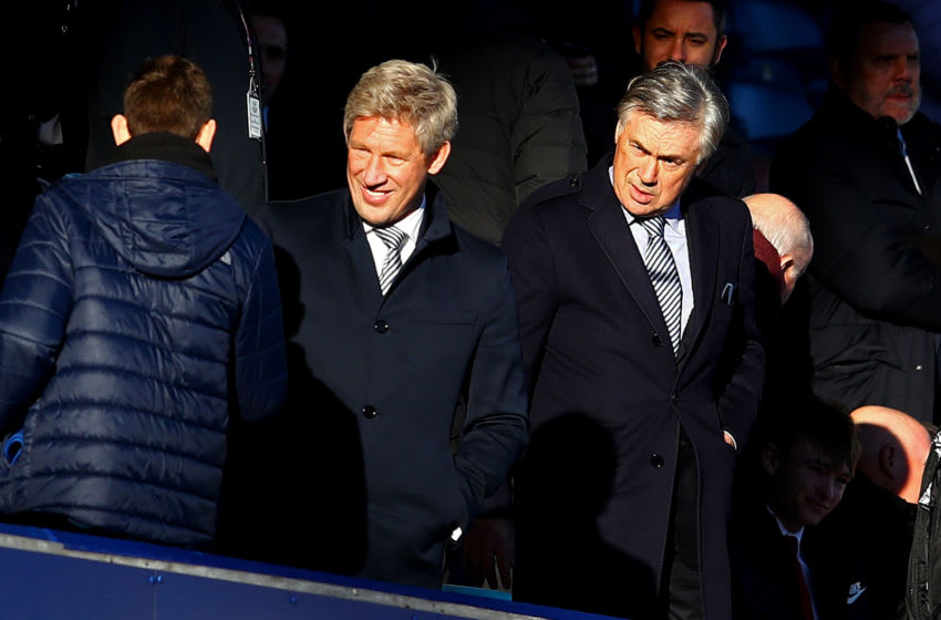 LIVERPOOL, ENGLAND - DECEMBER 21: Everton manager Carlo Ancelotti (R) looks on next to director of football Marcel Brands during the Premier League match between Everton FC and Arsenal FC at Goodison Park on December 21, 2019 in Liverpool, United Kingdom. (Photo by Chris Brunskill/Fantasista/Getty Images)
