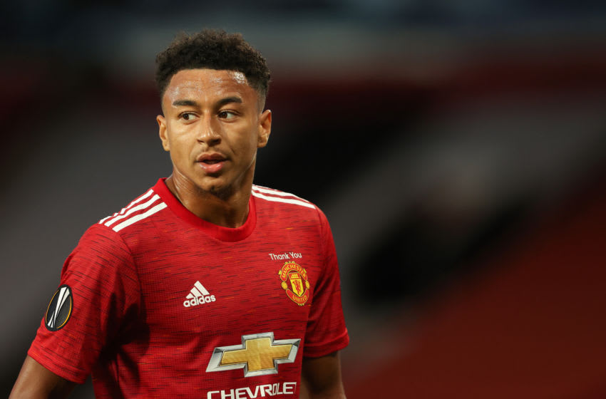MANCHESTER, ENGLAND - AUGUST 05: Jesse Lingard of Manchester United during the UEFA Europa League round of 16 second leg match between Manchester United and LASK at Old Trafford on March 19, 2020 in Manchester, United Kingdom. (Photo by Matthew Ashton - AMA/Getty Images)