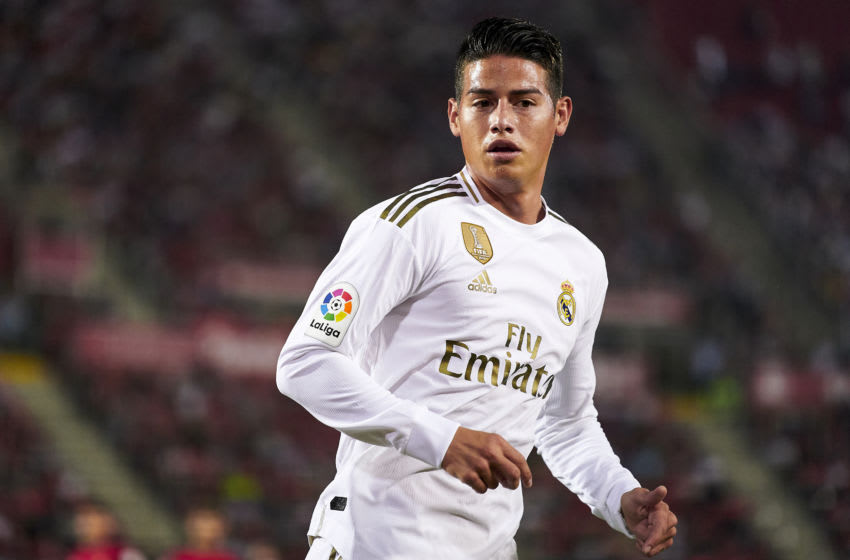 MALLORCA, SPAIN - OCTOBER 19: James Rodriguez of Real Madrid CF looks on during the Liga match between RCD Mallorca and Real Madrid CF at Iberostar Estadi on October 19, 2019 in Mallorca, Spain. (Photo by Quality Sport Images/Getty Images)