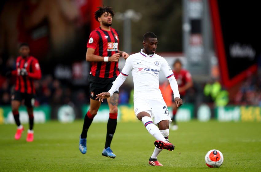 BOURNEMOUTH, ENGLAND - FEBRUARY 29: Fikayo Tomori of Chelsea in action with Philip Billing of AFC Bournemouth during the Premier League match between AFC Bournemouth and Chelsea FC at Vitality Stadium on February 29, 2020 in Bournemouth, United Kingdom. (Photo by Marc Atkins/Getty Images)