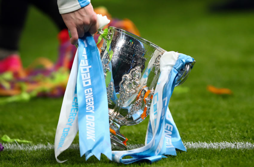 LONDON, ENGLAND - MARCH 01: Detail of the trophy dressed in the colours of Manchester City during the Carabao Cup Final between Aston Villa and Manchester City at Wembley Stadium on March 1, 2020 in London, England. (Photo by Marc Atkins/Getty Images)