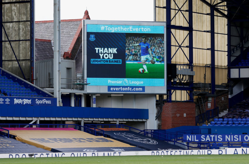 LIVERPOOL, ENGLAND - JULY 26: The big screen shows a thank you message for Leighton Baines of Everton after he announced his retirement after the Premier League match between Everton FC and AFC Bournemouth at Goodison Park on July 26, 2020 in Liverpool, England. Football Stadiums around Europe remain empty due to the Coronavirus Pandemic as Government social distancing laws prohibit fans inside venues resulting in all fixtures being played behind closed doors. (Photo by Clive Brunskill/Getty Images)