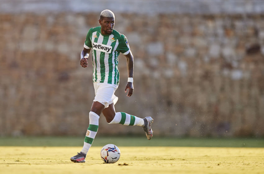 MARBELLA, SPAIN - AUGUST 22: Emerson of Real Betis in action during a pre-season friendly match between Real Betis and Cadiz CF at Marbella football center on August 22, 2020 in Marbella, Spain. (Photo by Fran Santiago/Getty Images)