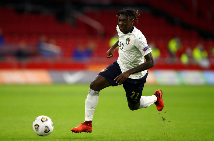UNSPECIFIED - SEPTEMBER 07: Moise Kean of Italy in action during the UEFA Nations League group stage match between Netherlands and Italy at Johan Cruijff Arena on September 07, 2020 in Amsterdam, Netherlands. (Photo by Dean Mouhtaropoulos/Getty Images)