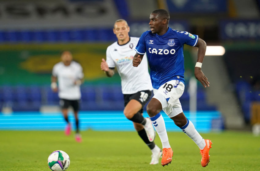 LIVERPOOL, ENGLAND - SEPTEMBER 16: Niels Nkounkou of Everton runs with the ball during the Carabao Cup Second Round match between Everton FC and Salford City at Goodison Park on September 16, 2020 in Liverpool, England. (Photo by Jon Super - Pool/Getty Images)
