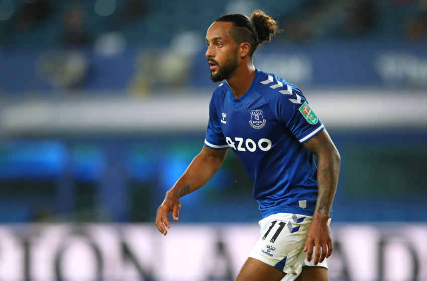 LIVERPOOL, ENGLAND - SEPTEMBER 16: Theo Walcott of Everton looks on during the Carabao Cup Second Round match between Everton and Salford City at Goodison Park on September 16, 2020 in Liverpool, England. (Photo by Alex Livesey - Danehouse/Getty Images)