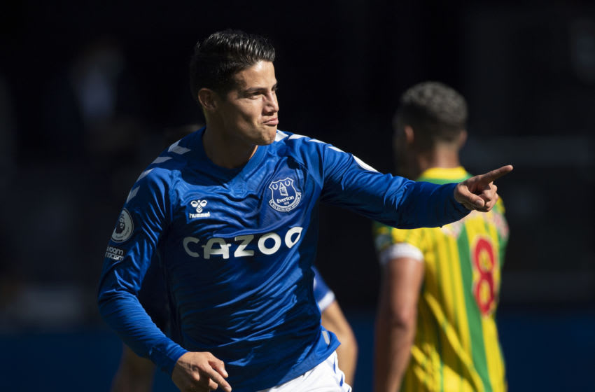 LIVERPOOL, ENGLAND - SEPTEMBER 19: James Rodriguez of Everton celebrates after scoring the second goal during the Premier League match between Everton and West Bromwich Albion at Goodison Park on September 19, 2020 in Liverpool, United Kingdom. (Photo by Visionhaus)