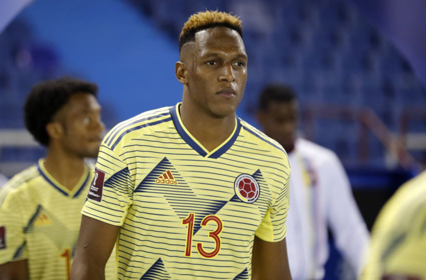 BARRANQUILLA, COLOMBIA - OCTOBER 09: Yerry Mina of Colombia enters the pitch before a match between Colombia and Venezuela as part of South American Qualifiers for Qatar 2022 at Estadio Metropolitano on October 09, 2020 in Barranquilla, Colombia. (Photo by Mauricio Dueñas-Pool/Getty Images)