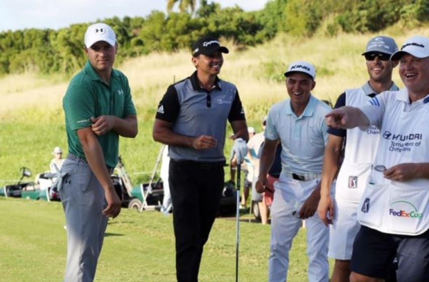 Jan 7, 2016; Maui, HI, USA; PGA golfer Jason Day talks with Jordan Spieth and Rickie Fowler while waiting on the 18th tee box during the first round of the Hyundai Tournament of Champions golf tournament at Kapalua Resort - The Plantation Course. Mandatory Credit: Brian Spurlock-USA TODAY Sports