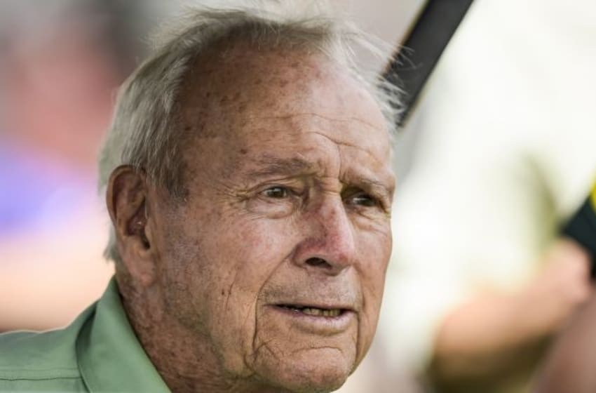 ORLANDO, FL - MARCH 17: Arnold Palmer watches play during the first round of the Arnold Palmer Invitational presented by MasterCard at Bay Hill Club and Lodge on March 17, 2016 in Orlando, Florida. (Photo by Chris Condon/PGA TOUR)