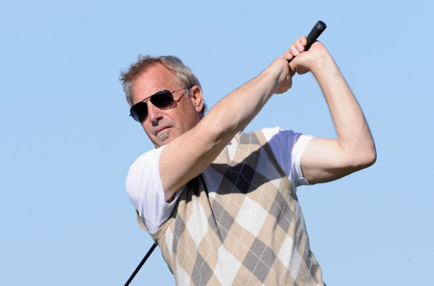 PEBBLE BEACH, CA - FEBRUARY 10: Actor Kevin Costner plays a shot during the first round of the AT&T Pebble Beach National Pro-Am at Monterey Peninsula Country Club on February 10, 2011 in Pebble Beach, California. (Photo by Stuart Franklin/Getty Images)
